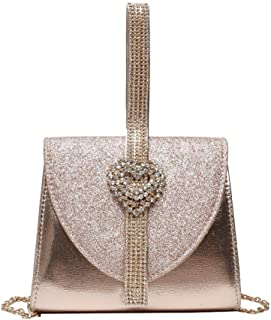 Bagseqt Umhängetasche Damen Clutch Damen Leder Handtasche Luxus Clutch Geldbörse Für Brautparty Umhängetasche Mit Herz Kristall Dekoration