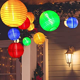 ALLOMN Solar Lantern String Lights, 19.7ft 30LED Waterproof Garden Lantern, String Lights Fair Lights with Fabric Lantern Exterior and Interior Decoration for Christmas, Garden, Home, Yard (Colorful)