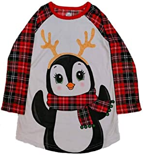 Long Sleeved Christmas Fleece Girls Nightgown Pajamas with Puppy or Penguin (Plaid Penguin, Small (6/6X))