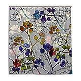 HaoXiang wasserdichte Duschvorhänge Set Natur Blumen Badezimmer Stoff Gardinen, Pattern2, 66x72 inch