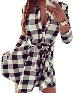 3/4 DE La Manga De Las Mujeres Impresas Tela Escocesa De Las Camisas V Tunica del Cuello del Vestido del Vendaje con Cinturones