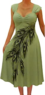 Plus Size Women Slimming Olive Sage Green Peacock Cocktail Cruise Dress