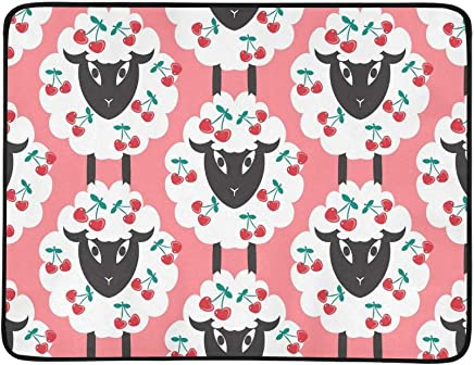 EIJODNL Sheeps Cherries Portable and and and Foldable Blanket Mat 60x78 Inch Handy Mat for Camping Picnic Beach Indoor Outdoor Travel B07MYR7DJM | Adoptieren  9c31af