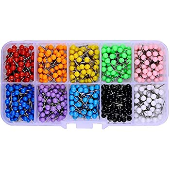 600 PCS Multi-Color Push Pins Map Tacks,1/8 inch Round Head with Stainless Point 10 Assorted Colors  Each Color 60 PCS  in reconfigurable Container for Bulletin Board Fabric Marking