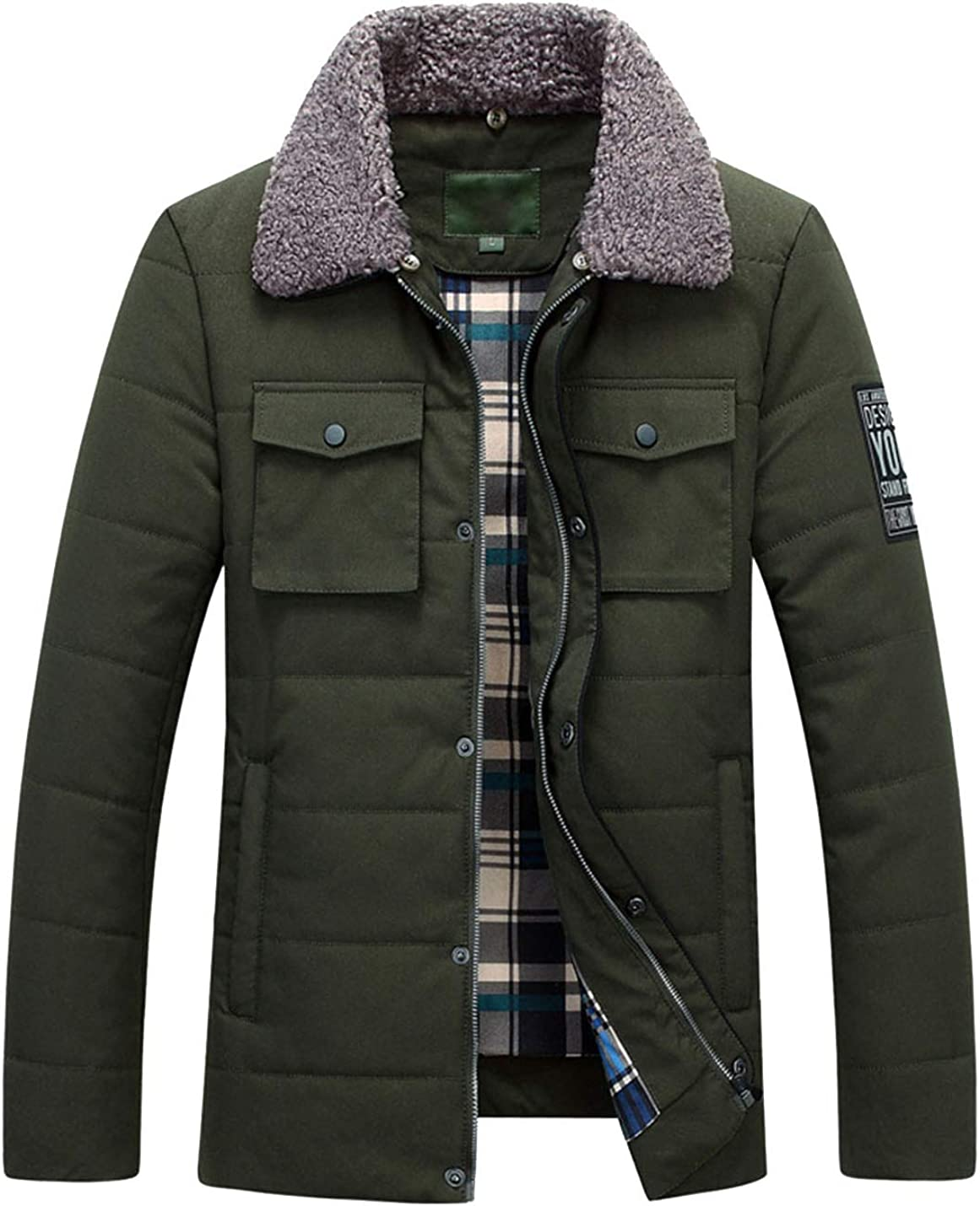 Lentta Mens Casual Zipper Button Quilted Cotton Padded Puffy Jacket Coat Pocket