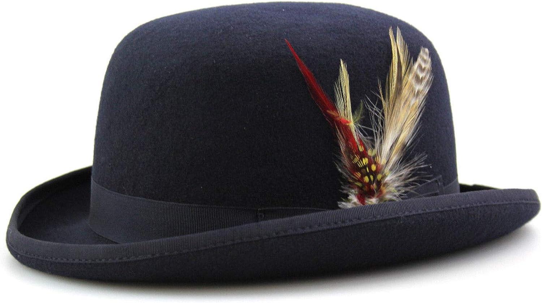 Par Neki Chapeau Bowler doubl/é en satin de laine de qualit/é sup/érieure avec plume amovible et brosse de nettoyage