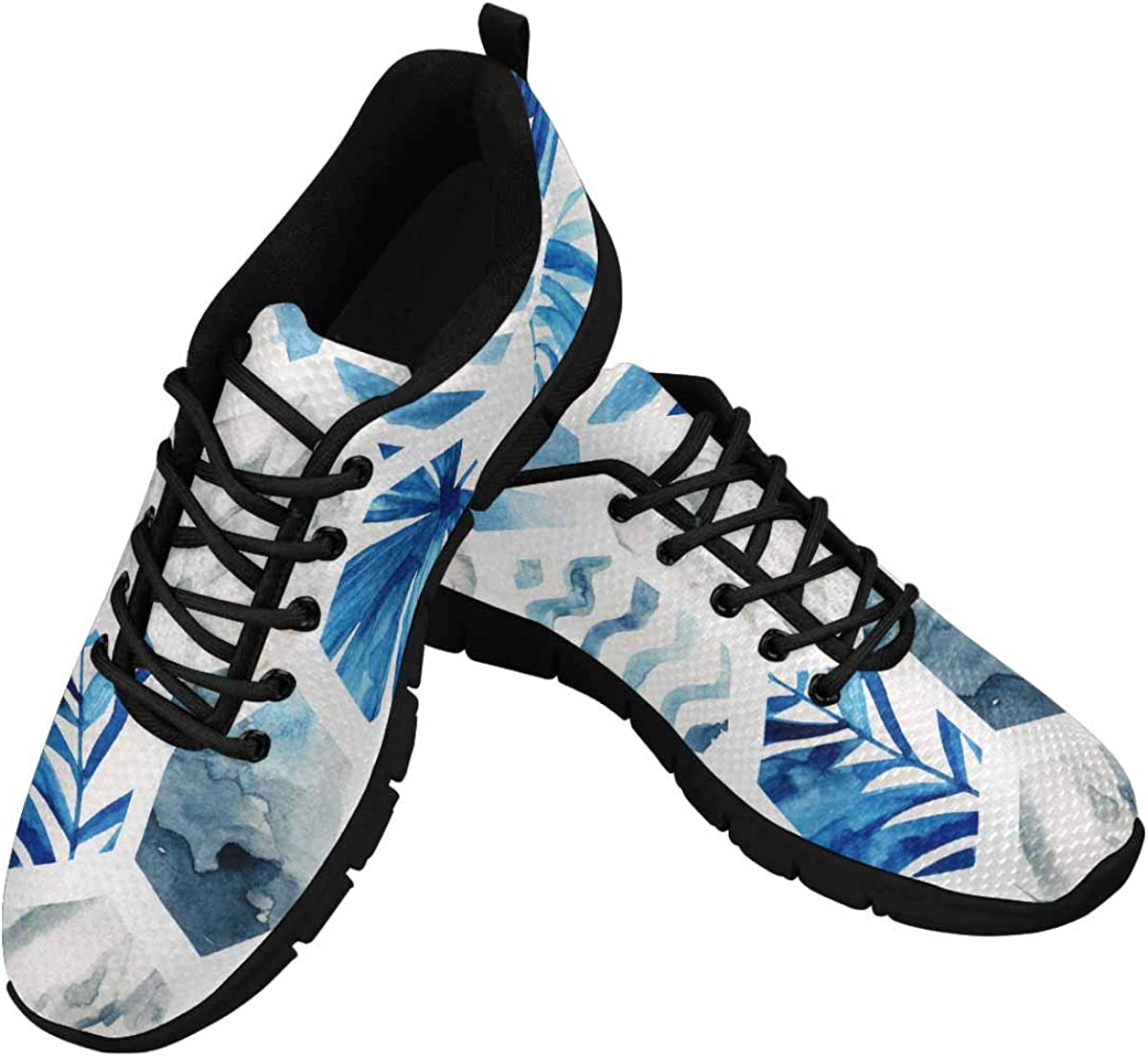 InterestPrint Palm Leaves, Waves, Stripes Women's Athletic Mesh Breathable Casual Sneaker