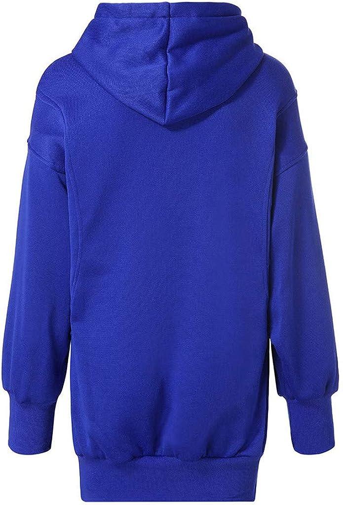 Eduavar Womens Hoodies, Women Girls Cute Long Sleeve Hoodie Dress Sweatshirts Casual Loose Pullover Tops with Pocket