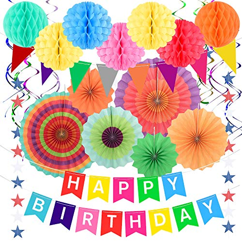 Party Birthday Decorations, Festival Rainbow Garden Paper Pom Decorations for Girls Boys Adults Kids Women, Outdoor Colorful Happy Birthday Banners Bunting (Colorful 1)