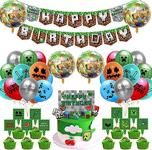 Osugin Video Game Partyzubehör - 42 Pcs Miner Gamer Thema Party Dekoration Einschließlich Happy Birthday Banner Luftballons Kuchendeckel Goldene Bänder für Minecraft Deko Geburtstag Gaming