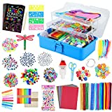 VOLINFO Arts and Crafts Supplies Set for Kids- 1600+ PCS DIY Craft Box for Kids, Include Scratch Paper Art Set, Craft Box Gift for Toddlers Age 4 5 6 7 8 9, Homeschool, Preschool(Blue)