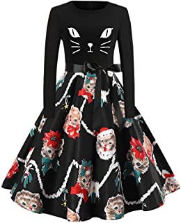 TOTOD Christmas Women Cute Xmas Cats Print Vintage Dress - Novelty Long Sleeve Bow Tie Notes Party Costume …
