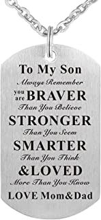 Always Remember You are Braver Than You Believe to My Kids Child Son Daughter Birthday Gift Jewelry Dog Tag Keychain Pendant Necklace from Dad Mom