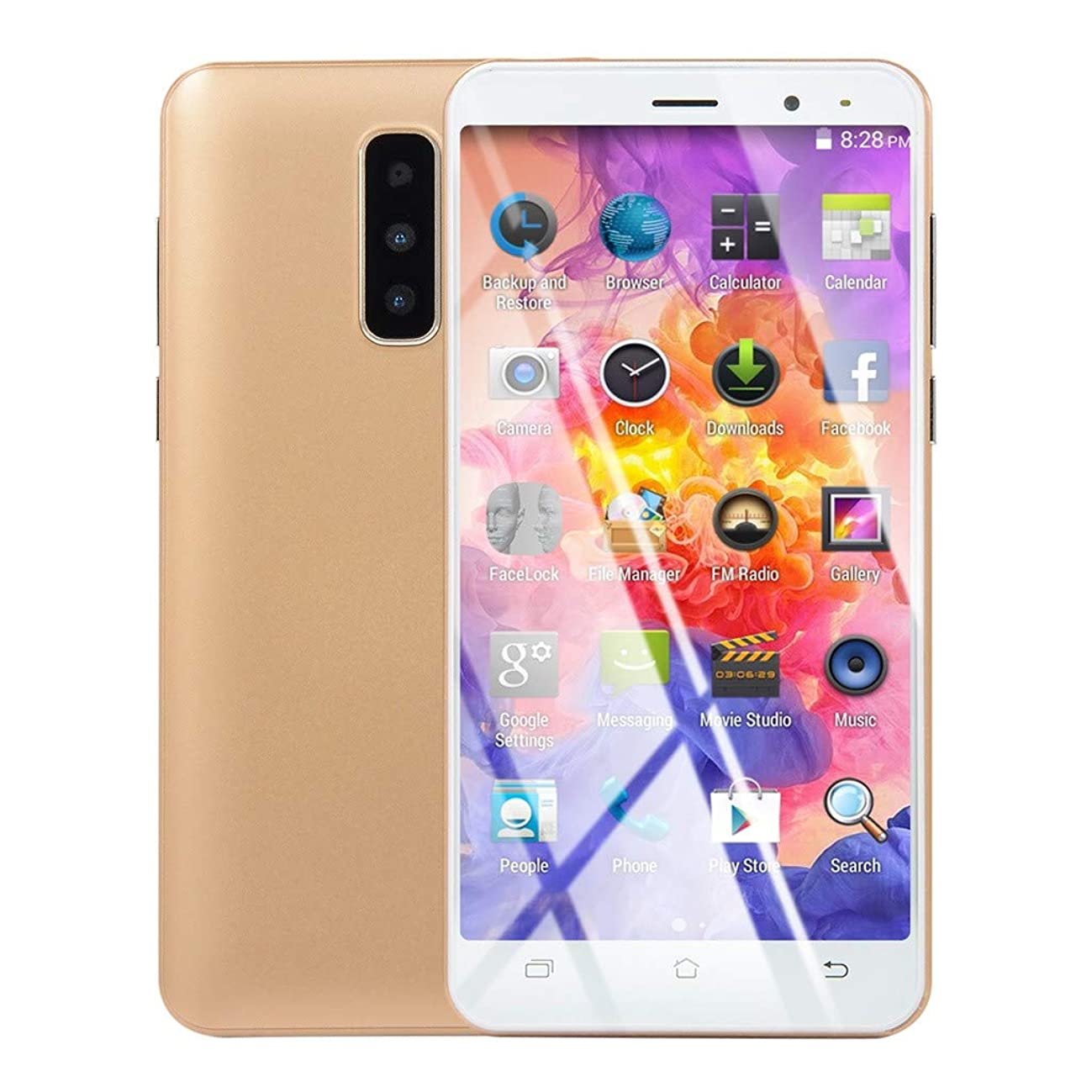 Redvive Top New 5.0 inch Dual HD Camera Android 6.0 1G+4G GPS 3G Call Mobile Phone (US Plug)