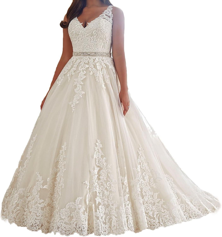 Alexzendra Women's Wedding Dresses Plus Size V Neck Mermaid Bride Gowns  Beads