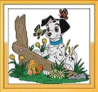 刺繡スターターキット刻印クロスステッチキット初心者ダルメシアンと蝶のDIY11CT刺繡、簡単で面白いプレプリントパターン16x20インチ