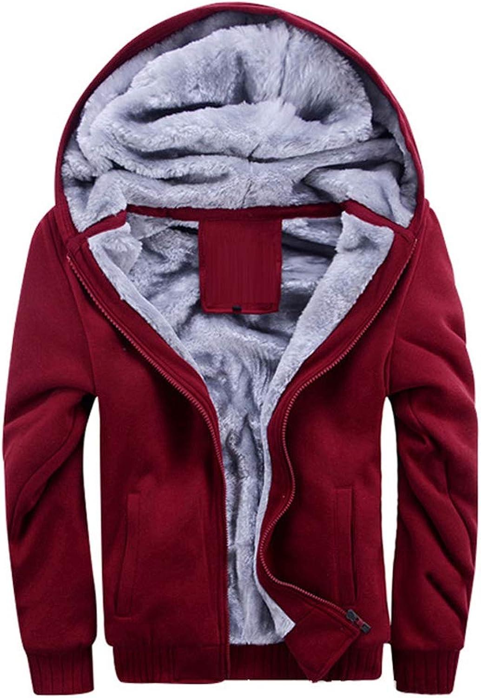 Woworld Men Winter Jacket Hood Coat Polar Fleece Thermal Jacket Outdoor Windproof Warm Coat