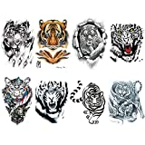Yesallwas Temporary Tattoo for men, Teens Guys,kids boys (8 Sheets), Large Waterproof long lasting Fake Tattoos Stickers for Arm Shoulder Chest & Back- Biker Tattoos (A)