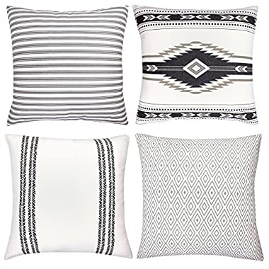 Decorative Throw Pillow Covers For Couch, Sofa, or Bed Set Of 4 18 x 18 inch Modern Quality Design 100% Cotton Stripes Geometric  Sahara  by Woven Nook