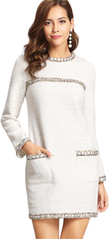 CbUOYzzH Women Round Neck Trim Elegant Long Sleeve Straight Dress