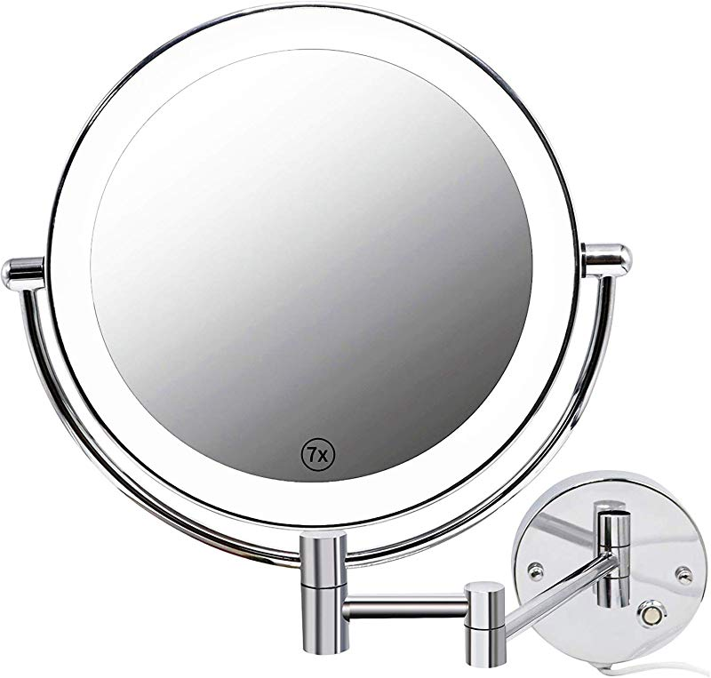 Jolitac 8 5 Inch LED Makeup Mirror Wall Mount 7X 1X Magnification Chrome Personal Make Up Mirror Round Shaped Double Sided Swivel Vanity Mirror Touch Button Adjustable Light In Bedroom Or Bathroom