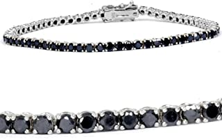 3ct Black Diamond Tennis Bracelet 14K White Gold 7
