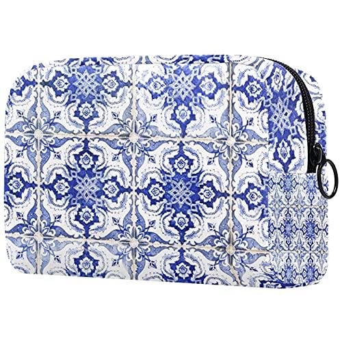 Make Up Tasche Kulturbeutel Tragbar Reise Schminktasche Kosmetiktasche Mit wasserbeständig und strapazierfähigem Hauswand aus portugiesischen Fliesen 18.5x7.5x13cm