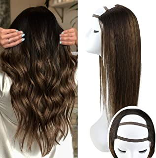 Sunny 14 Inch Highlighted Human Hair Wigs Half Part Wig Color #6 Medium Brown Highlight Color #2 Darkest Brown Real Hair Wigs U Part Wig One Piece 100g