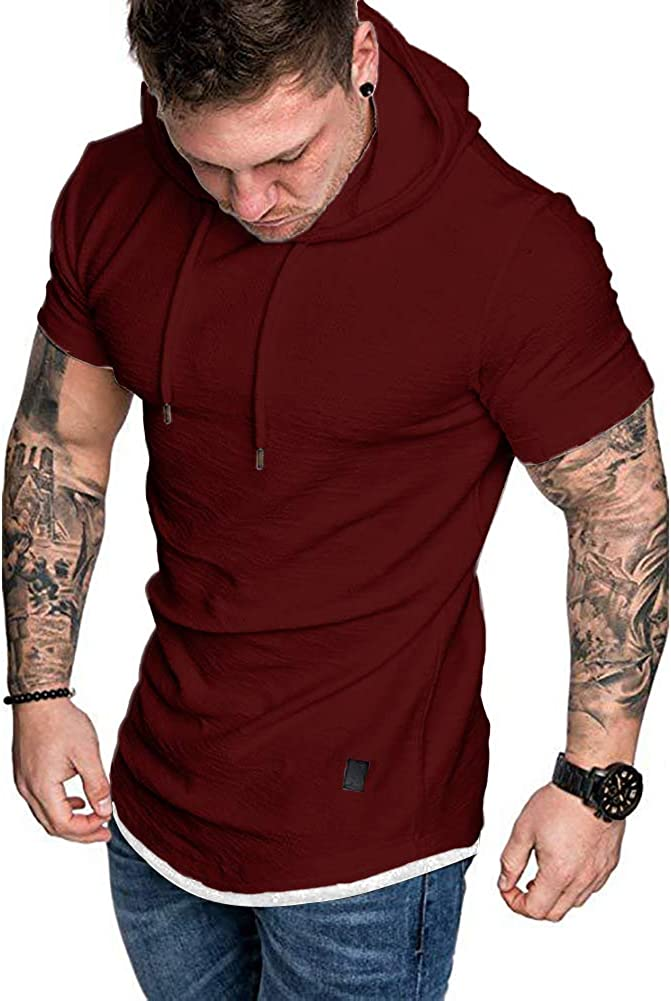 Mens Casual Athletic Hoodies Workout Sweatshirt Fashion Lightweight Hoodie Gym Top Blouse