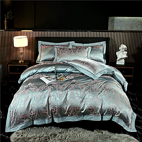 Exlcellexngce Juego De Fundas De EdredóN 135x200cm,Luxury 4pcs Jacquard Juego De Cama Conjuntos De Ropa De Cama SatéN 1 Cubierta De EdredóN + 2 Pillow +1 Hoja De Cama-L_1,8 M De Cama (4pcs)