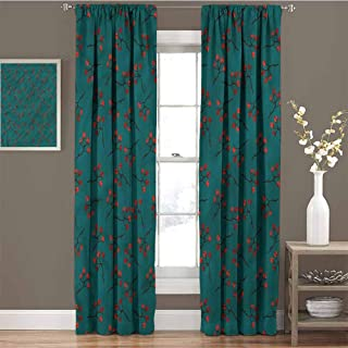 GUUVOR Teal Premium Blackout Curtains Red Berry Christmas Rustic Kindergarten Noise Reduction Curtains W72 x L84 Inch
