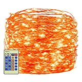 Decute Orange Halloween String Lights 300LED 99FT, UL Safe Certified Plug in Fairy Firefly Lights with Remote, Twinkle Lights for Halloween Party Bedroom Patio Indoor Outdoor Christmas Decor