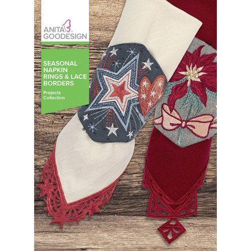 Anita Goodesign Embroidery Machine Designs CD Seasonal Napkin Rings & Lace...