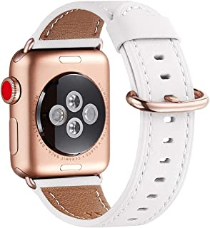 WFEAGL Compatible iWatch Band 40mm 38mm, Top Grain Leather Band with Gold Adapter (The Same as Series 5/4/3 with Gold Aluminum Case in Color) for iWatch Series 5/4/3/2/1 (White Band+Rosegold Adapter)