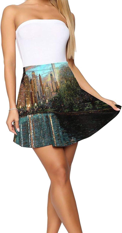 RHRFOL Twilight Serenity Women's Basic Versatile Stretchy Flared Casual Mini Skater Skirt