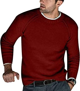 Men's Classic Crewneck Solid Sweater Pullover Comfort Plain Long Sleeve Top
