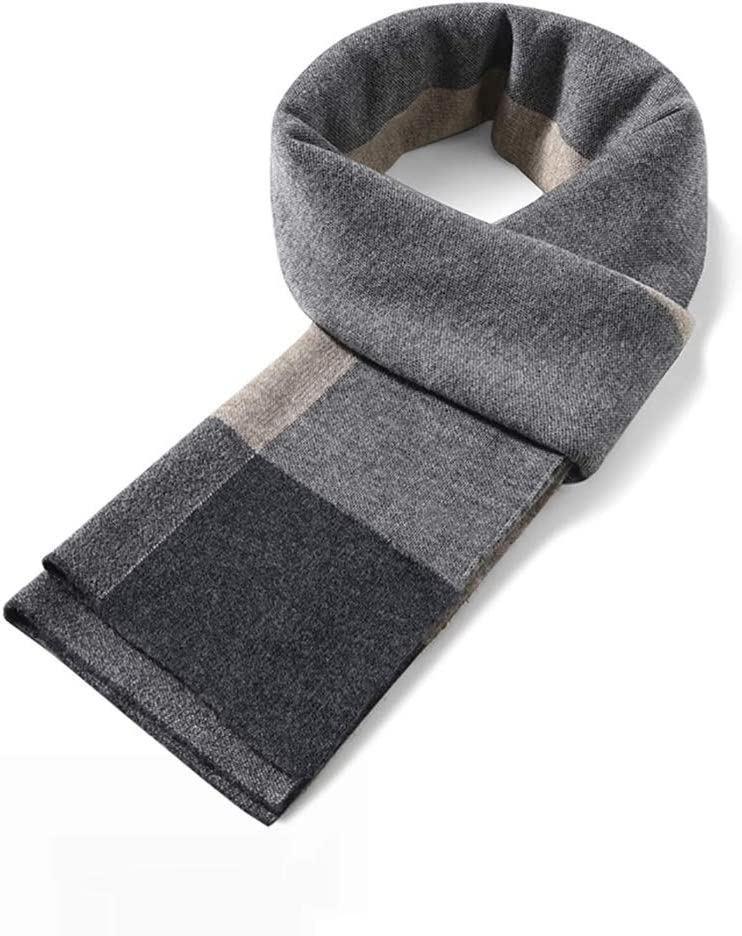 Scarves Herren Premium Men Wool Plaid Knitted Scarf Soft Long Warm Scarves Gentleman Boss Gift Box 100% Wool Cashmere Feel Scarf Cozy Winter Schal (Color : 4)