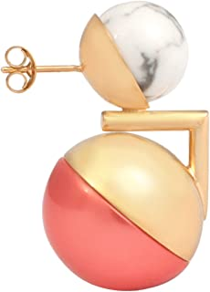 Leivankash Ojo Yellow Gold Plated Brass - Faux Coral Pearl and Howlite Single Piece Earrings