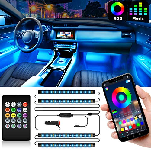 Shynerk Interior Car Lights Car LED Strip Lights 2in1 Design 4pcs 48 LED Remote and APP Controller Lighting Kits Waterproof Multi DIY Color Music Car Lighting with Car Charger and DC 12V