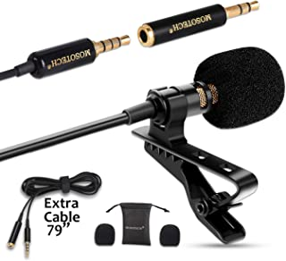 Lavalier Microphone, Omnidirectional Condenser Lapel Clip MIC, YouTube Interview Recording (Suitable for iPhone/Android/Windows/Camera)