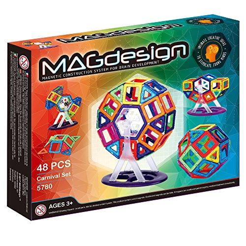 MAGdesign Karneval-Set (48 Teile) Magnetische Bauklötze zur Förderung der Denkfähigkeit & Gehirnentwicklung