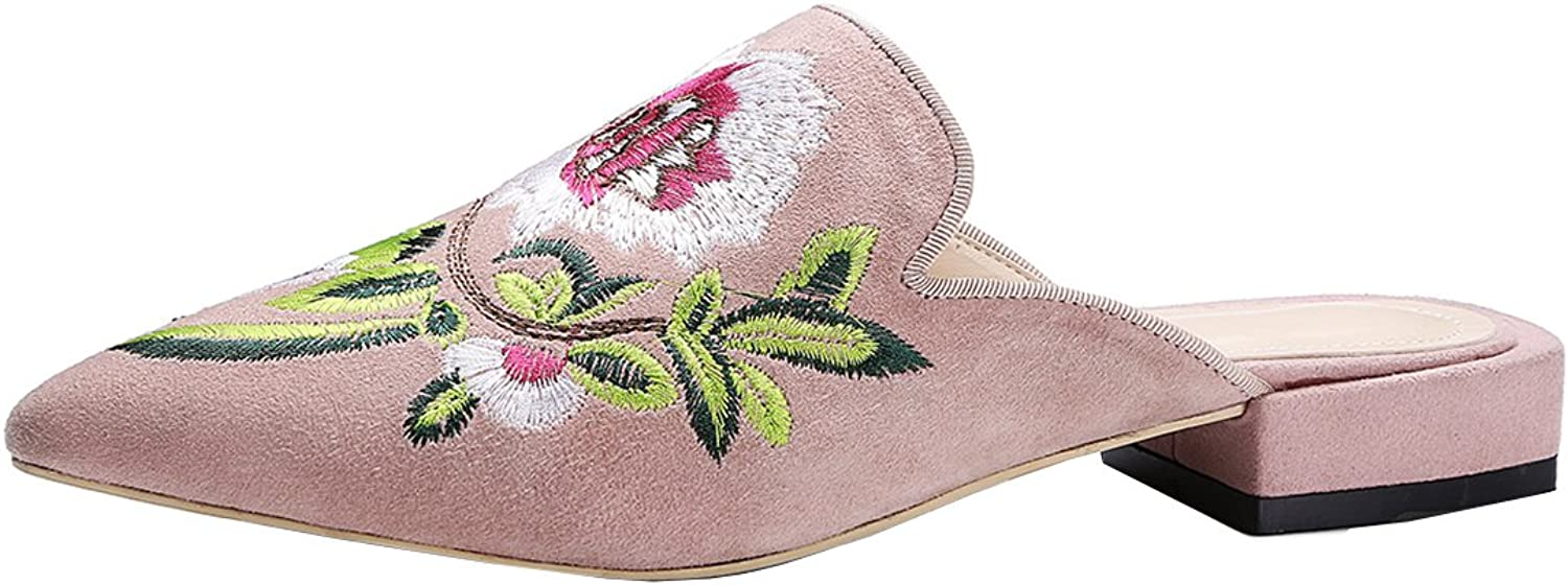 Vitalo Women's Flat Open Backless Loafers Ladies Slip On Floral Embroidery Mules