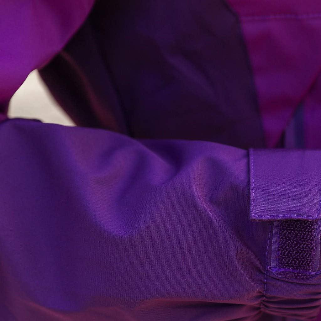 BBring Damen Regenjacke 3 in 1 Farbblock Lange Wasserdicht Regenmantel Groß Größe Entfernbar Kapuzen Stehkragen Windbreaker Brusttasche justierbare Manschetten Tunnelzug Saum Lila
