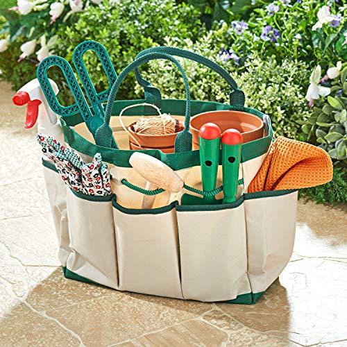 Spetebo Bolsa de jardín con 8 compartimentos, aprox. 33 x 16 x 25 cm