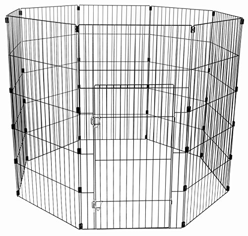 Iris Ohyama, Parque para perros / jaula exterior / recinto / perrera - Wire Pet Circle - 48 pulgadas, epoxi, plata, 1.5m², 60 x 121 cm