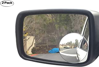 """Newest Upgrade Blind Spot Mirror, Ampper 3-3/4"""" Round HD Glass Convex Aluminum Frame Wide Angle Rear View Mirror For Large Vehicles, Car Suv Truck(Pack Of 2)"""