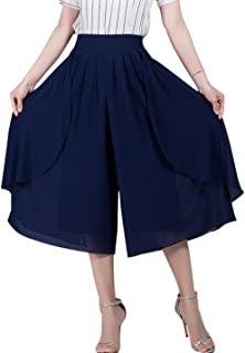 Tanming Women's High Elastic Waist Pleated Chiffon Wide Leg Capri Pants Culottes