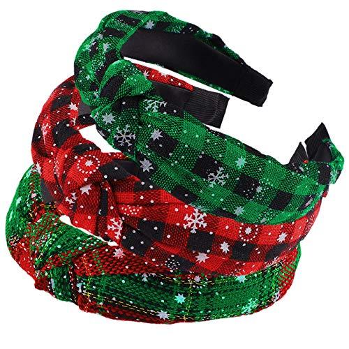 URATOT 3 Pack Christmas Top Knot Headbands Women's Wide Turban Headband Cloth Cross Knot Headwear Christmas Hair Accessories