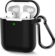 AirPods Case, Coffea Protective Silicone Cover Skin with Keychain for AirPods 2 Wireless Charging Case [Front LED Visible] (Black)