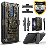 ZTE Max XL Case, Circlemalls Dual Layers [Combo Holster] And Built-In Kickstand Bundled with [Premium HD Screen Protector]Hybird Shockproof And Stylus Pen For ZTE Max XL (Camo)